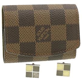 Louis Vuitton-LOUIS VUITTON Damier Ebene Cuff Case and Cuffs LV Auth 17059-Damier ebène