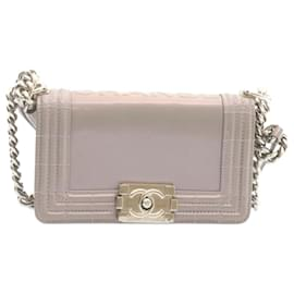Chanel-CHANEL Boy Chanel Chain Shoulder Bag Gray Patent Leather CC Auth 22764-Grey