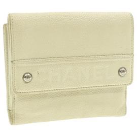 Chanel-CHANEL Caviar Skin Wallet White CC Auth 17279-White
