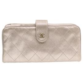 Chanel-CHANEL Lamb Skin Matelasse Long Wallet Pink CC Auth 17288-Pink