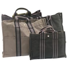 Hermès-Sac à main HERMES cabas PM MM Noir Gris Marine 4Set Coton Auth ki883-Noir,Gris,Bleu Marine