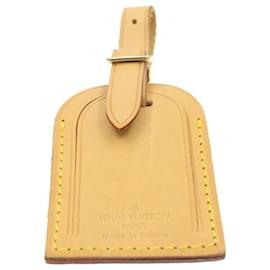 Louis Vuitton-LOUIS VUITTON Porte-nom en cuir Powanie Padlock Set Beige LV Auth 17569-Beige,Doré