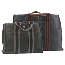 Hermès-Sac à main HERMES cabas PM MM Noir Marine 2Set Coton Authentification 22861-Noir,Bleu Marine