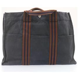 Hermès-HERMES Fourre Tout PM MM Hand Bag Black Navy 2Set Cotton Auth 22861-Black,Navy blue