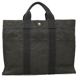 Hermès-HERMES Her Line MM Hand Bag Canvas Gray Auth 18094-Grey