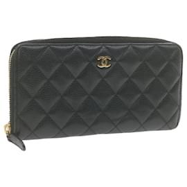 Chanel-CHANEL Caviar Skin Matelasse Long Wallet Black Leather CC Auth gt718-Black
