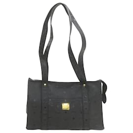 MCM-MCM PVC Leather Shoulder Bag Black Auth ar3956-Black