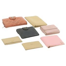 Chanel-CHANEL Matelasse Wallet Card Case 7Set Beige Leather CC Auth ar3967-Black,Pink,Beige