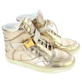 Louis Vuitton-Women's 36 Metallic Gold High Top Sneakers 7LV719-Other
