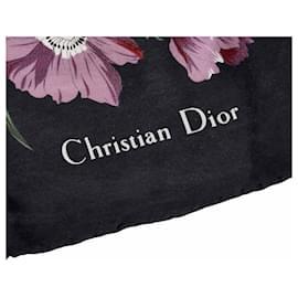 Dior-Foulard en soie à imprimé floral bleu Dior-Bleu,Multicolore,Bleu Marine
