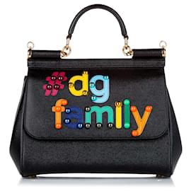 Dolce & Gabbana-Dolce&Gabbana Black Miss Sicily Leather Satchel-Black