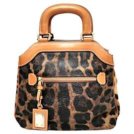 Dolce & Gabbana-Dolce&Gabbana Brown Leopard Print Leather Handbag-Brown,Black