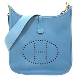 Hermès-Hermès Bleu Courchevel Evelyne I GM-Bleu,Bleu clair