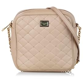 Dolce & Gabbana-Dolce&Gabbana Brown Quilted Leather Crossbody Bag-Brown,Beige
