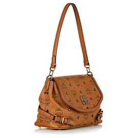 MCM-MCM Brown Visetos Leather Satchel-Brown
