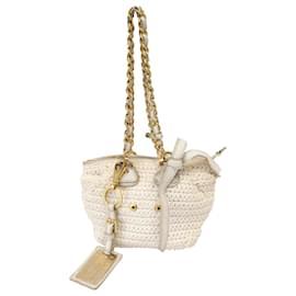 Dolce & Gabbana-Dolce&Gabbana White Knitted Shoulder Bag-White,Golden