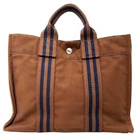 Hermès-Hermes Brown Fourre Tout PM-Brown,Blue,Navy blue