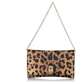 Dolce & Gabbana-Dolce&Gabbana Brown Taormina Leopard Print Leopard Shoulder Bag-Brown,Black