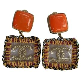 Chanel-CHANEL A14K Clip On Supermarket Collection Tweed Earrings-Multiple colors