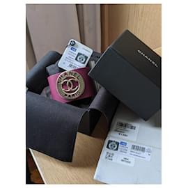 Chanel-Chanel Burgundy 18B Leather Bracelet GHW-Dark red