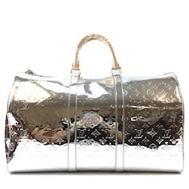Louis Vuitton-Louis Vuitton Keepall 50 Bandouliere Silver Mirror Pvc-Silvery