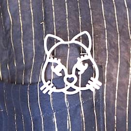 Chanel-Chanel Silver CC Cat Crystals Brooch-Silvery