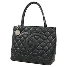 Chanel-CHANEL Medallion tote Womens tote bag A01804 black x silver hardware-Black,Silver hardware