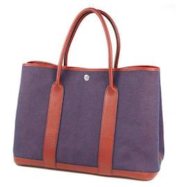 Hermès-HERMES Garden Party PM Sac cabas Femme Bordeaux x Marine-Autre,Bleu Marine