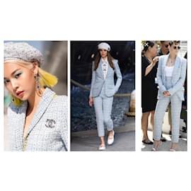 Chanel-2019 Cruise LA PAUSA Fantasy Tweed Blazer Jacket-White,Blue,Light blue