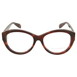 Alexander Mcqueen-Round-Frame Optical Glasses-Brown