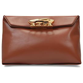 Alexander Mcqueen-Sculptural Pouch in Brown Cuoio Smooth Leather-Brown