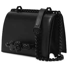 Alexander Mcqueen-Small Jewelled Satchel Bag in Black Smooth Leather-Black