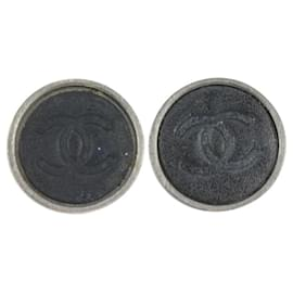 Chanel-00A Black x Silver CC Earrings-Other
