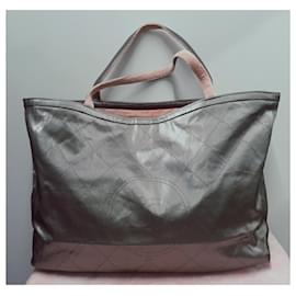 Chanel-Shopper chanel XL lined sided-Pink,Grey