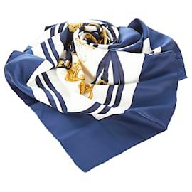 Hermès-Hermes Blue Brides de Gala Silk Scarf-Blue,Multiple colors,Navy blue