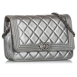 Chanel-Chanel Silver Boy Caviar Leather Flap Bag-Silvery