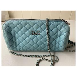 Dolce & Gabbana-Dolce&Gabbana Blue Lily Glam Quilted Leather Crossbody Bag-Blue