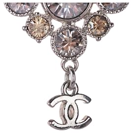 Chanel-Chanel Silver CC Rhinestone Pendant Necklace-Silvery