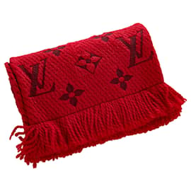 Louis Vuitton-Louis Vuitton Red Logomania Wool Scarf-Red