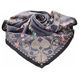 Hermès-Hermes Blue Arabesques Silk Scarf-Blue,Multiple colors