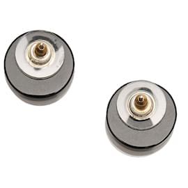 Chanel-Chanel Black CC Clip-on Earrings-Black,Silvery