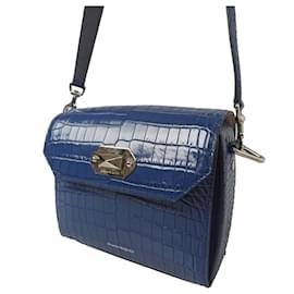 Alexander Mcqueen-Alexander McQueen Blue Box 21 Embossed Leather Crossbody Bag-Blue