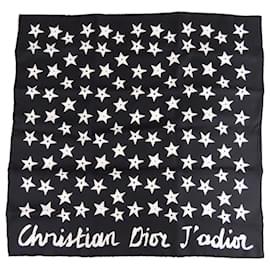 Dior-Foulard Dior Jadior Carré Soie Noir-Noir,Blanc