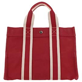 Hermès-Hermes cabas Rouge-Blanc,Rouge