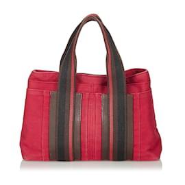 Hermès-Sac à main Hermes en toile rouge-Rouge,Multicolore