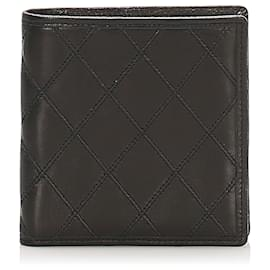 Chanel-Chanel Silver Leather Bifold Wallet-Silvery