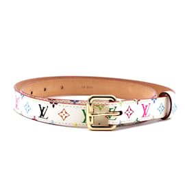 Louis Vuitton-Louis Vuitton White Multicolore Monogram Belt Size 80/32-Multiple colors