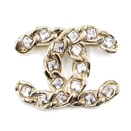 Chanel-Chanel Gold CC Chain Crystals Hardware Brooch-Golden