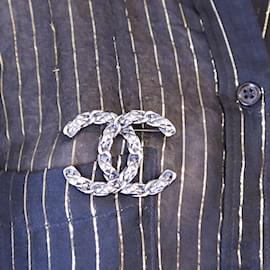 Chanel-Chanel Ruthenium CC Quilted Hardware Brooch-Other
