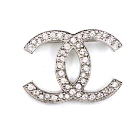 Chanel-Chanel Silver CC Timeless Crystals Brooch-Silvery